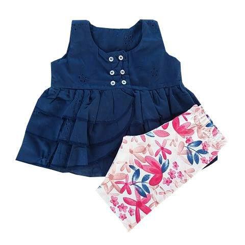 Conjunto Infantil de verão Bata Lesie Babados Azul Marinho com Bermuda Floral