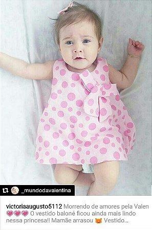 Vestido Bebê de Verão Balone Regata em Poá Rosa