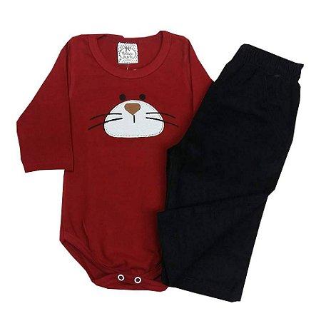 Conjunto Bebê Body Manga Longa Bordo e Calça Veludo Preta