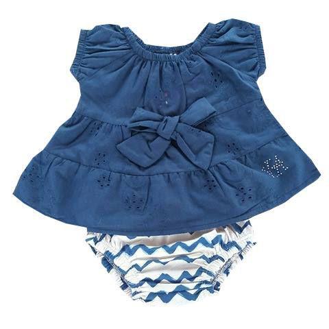 Conjunto Bebê Bata Azul Marinho Lesie com Calcinha Étnica Estampada