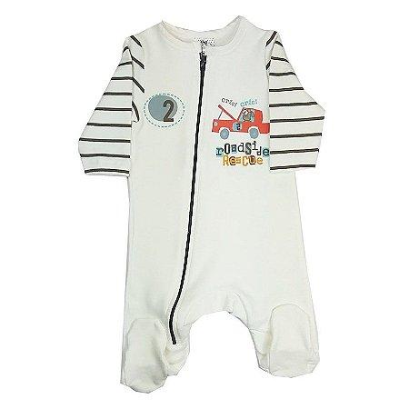 Macacão de Bebê Inverno Manga Longa Com Pezinho e Ziper Frontal Off White