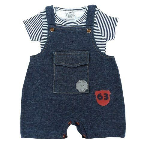 Jardineira Bebê de Verão Jeans com Camiseta Listrada Azul Marinho e Branco
