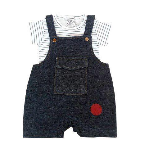 Jardineira Bebê de Verão Jeans com Camiseta Listrada Branca e Azul Marinho