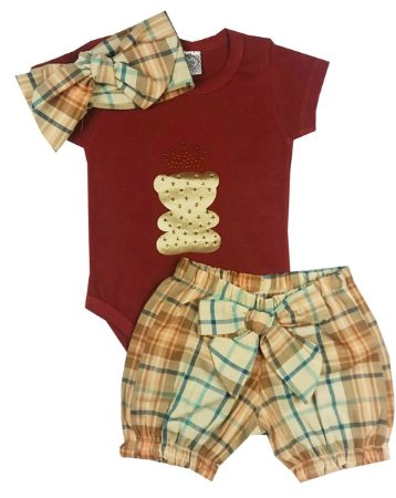 Conjunto Bebê Body Vermelho Com Short Bombachinha Xadrez e Turbante Estampado