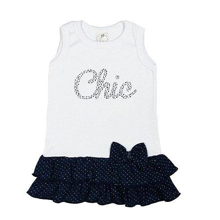 Vestido Infantil de Babados Poá Branco e Azul Marinho