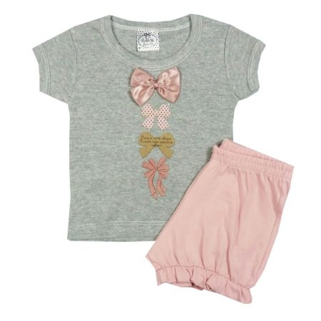 Conjunto Bebê Blusa Mescla Laços Com Short Rosa