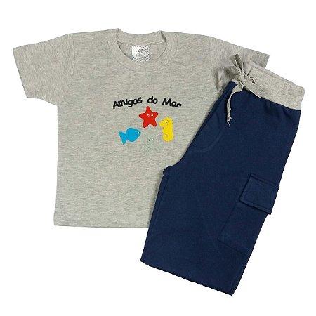 Conjunto Infantil Bermuda com Camiseta Amigos do Mar