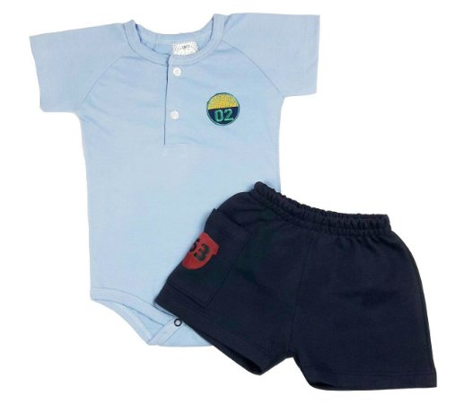 Conjunto Bebê Body Polo e Shorts Marinho