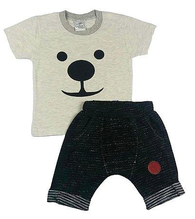 Conjunto Infantil Camiseta e Bermuda Saruel Chumbo