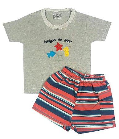 Conjunto Infantil Amigos do Mar Camiseta Mescla e Shorts Tactel
