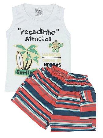 Conjunto Infantil De Verão Menino Regata Branca Com Estampa e Shorts Tactel Listrado