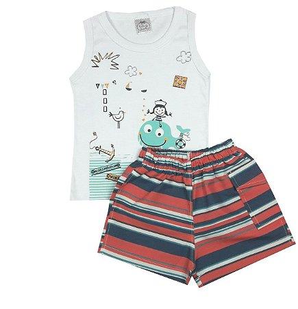 Conjunto Infantil Mar Regata e Shorts Tactel