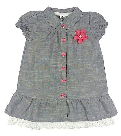 Vestido Infantil Tecido Jeans Duas Peças