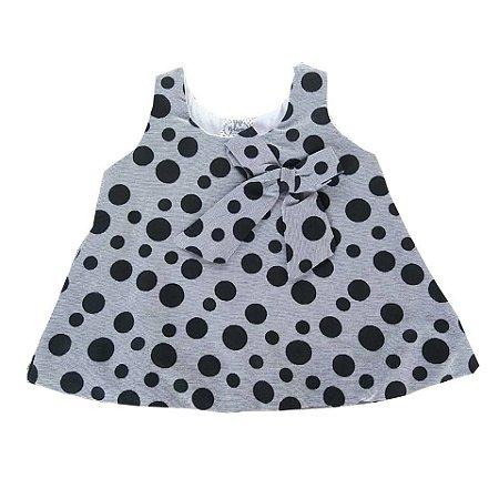 Vestido Bebê de Verão Balone Regata em Poá Preto e Cinza