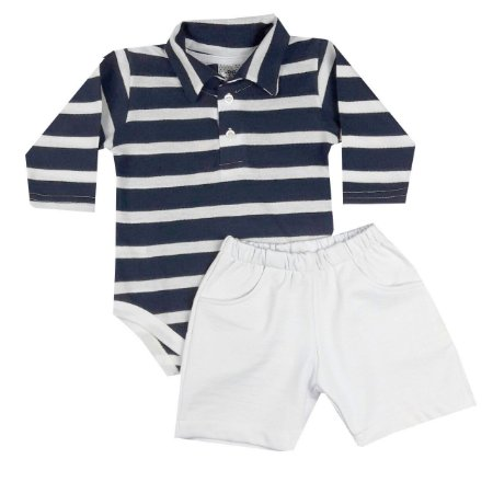 Conjunto Bebê Body Polo Listras e Shorts