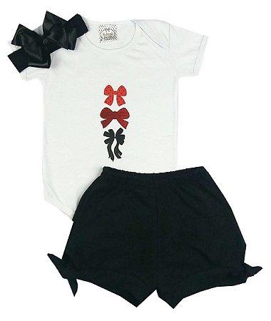 Kit Conjunto Bebê Body + Shorts + Faixa Preta