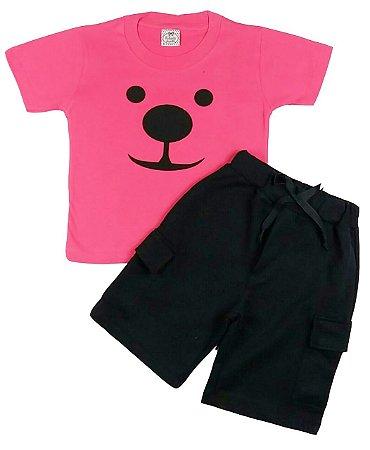 Conjunto Infantil Camiseta e Bermuda Preta