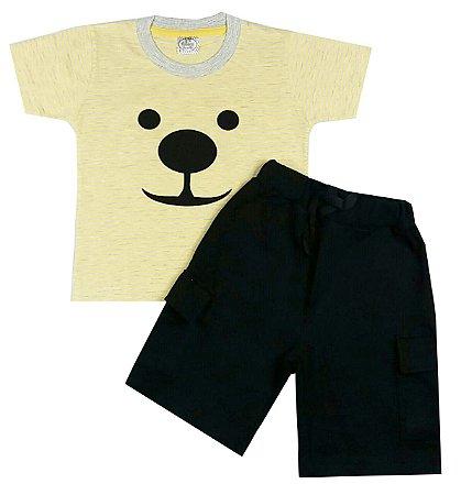 Conjunto Infantil Camiseta Listrada e Bermuda Preta