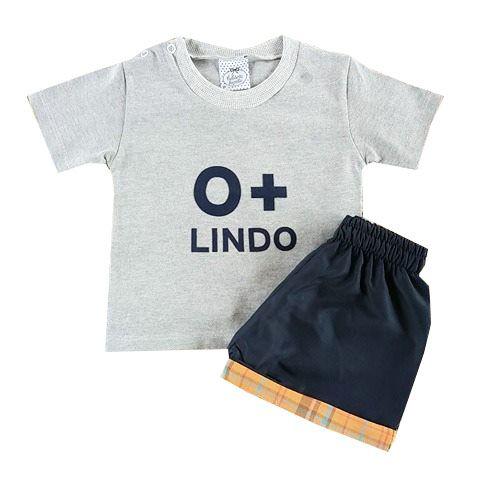 Conjunto Bebê Camiseta Mescla com Shorts Tactel Azul