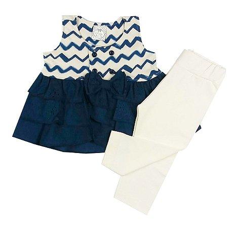 Conjunto Infantil Bata Com Babados Etnico Azul Marinho com Calça Legging Off White