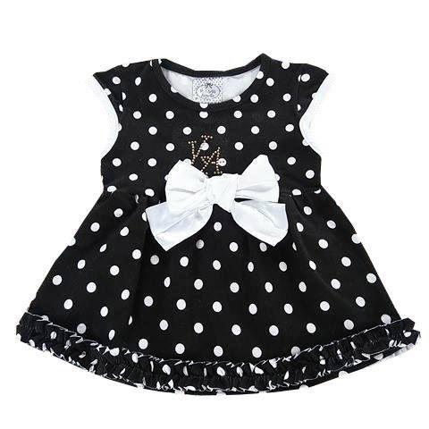 Vestido Bebê de Verão Manga Curta Com Babados Poá Preto e Branco