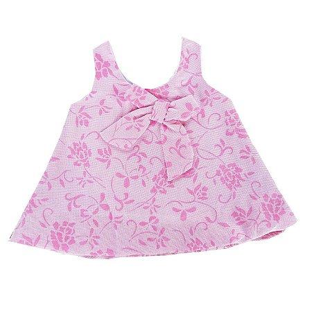 Vestido Bebê Balone Tecido Rosa Bebê Floral