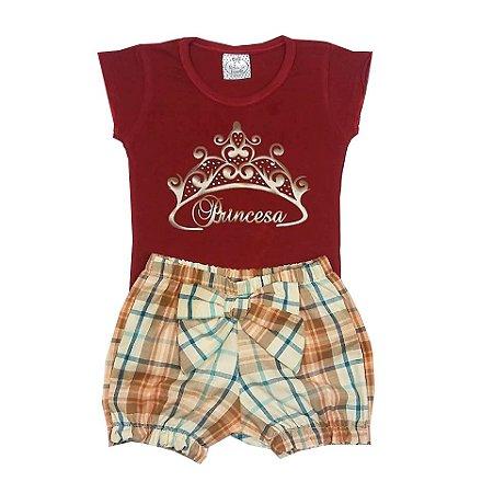 Conjunto Bebê Short com Body Princesa