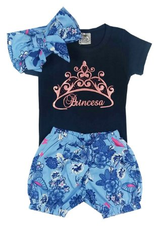 Conjunto Bebê Body Cotton com Shorts Floral e Turbante