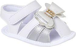 Sandália Bebê Branca com Prata