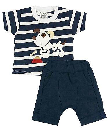 Conjunto Bebê Camiseta Listrada e Bermuda Saruel Azul Marinho