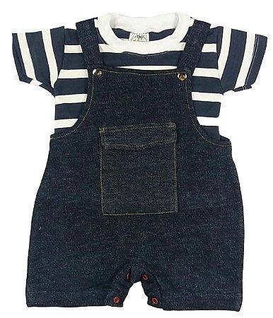 Jardineira Bebê Verão Jeans com Camiseta Listrada Azul Marinho e Branco