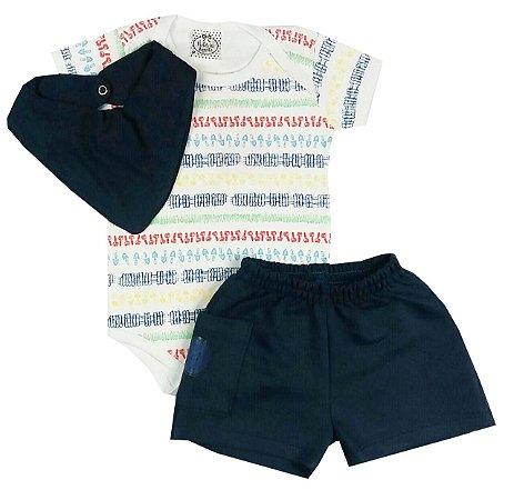 Conjunto Bebê Body Estampado com shorts e Bandana Babador Azul Marinho