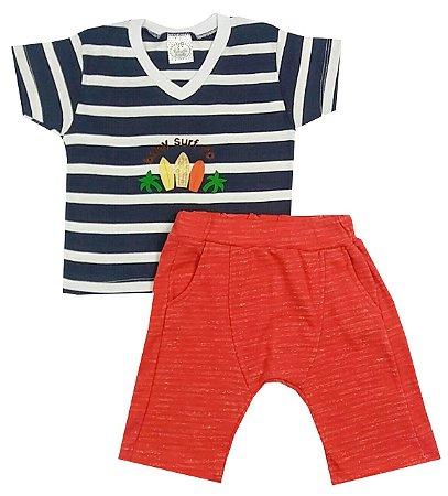 Conjunto Infantil Camiseta Listrada Azul Marinho e Branco Com Aplique e Bermuda Saruel Vermelha