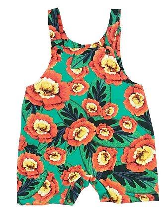 Jardineira de Bebê Verão Estampada Verde Floral