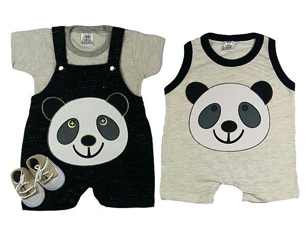 Kit Bebê Jardineira com Camiseta Panda + Macacão Panda + Tênis Bege
