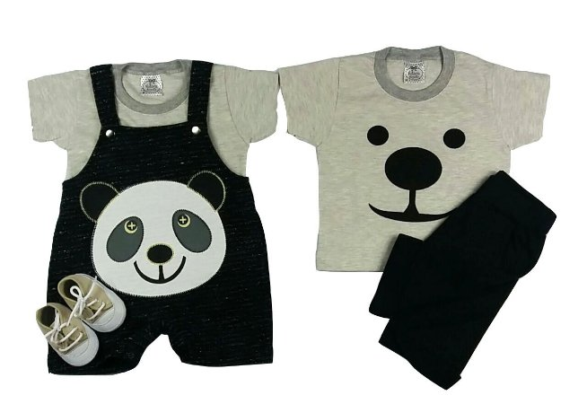 Kit Bebê Jardineira com Camiseta Panda + Conjunto + Tênis Bege