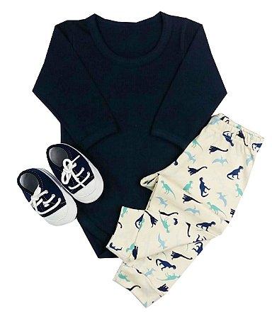 Kit Bebê Conjunto Body Cotton + Calça + Tênis Tênis Azul