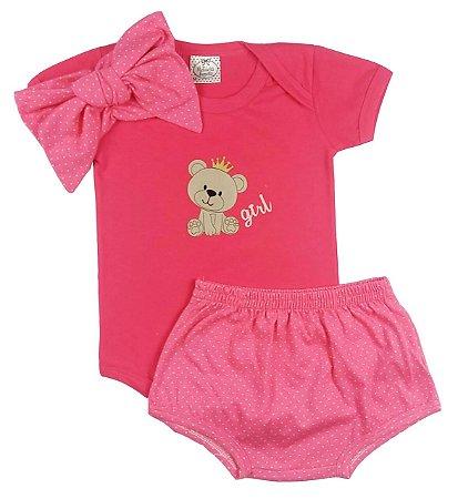 Conjunto Bebê Body Pink e Tapa Fralda Poá  com Turbante Pink de Poá