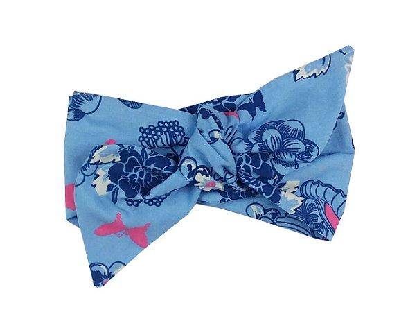 Turbante Bebê Azul Floral
