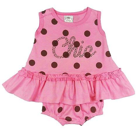 Vestido Infantil Rosa com Poá Marrom com Calcinha