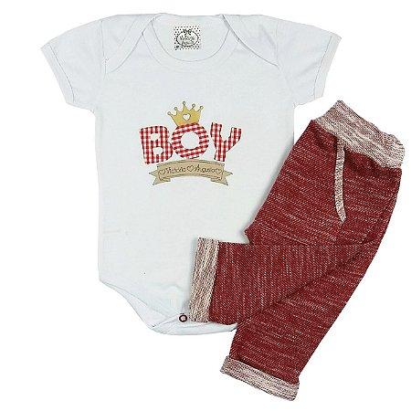 Conjunto Bebê Body Branco e Calça Saruel Vermelha