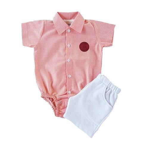 Conjunto Bebê Body Camisa Xadrez e Short Branco