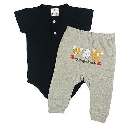 Conjunto Bebê Body Preto e Calça Mescla