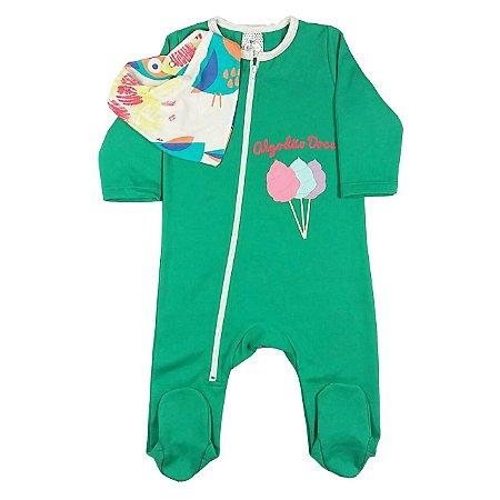 Macacão Bebê Verde com Pezinho e Bandana Estampada