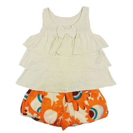 Conjunto Infantil de Verão Bata com Babados Off White e Shorts Estampado Floral