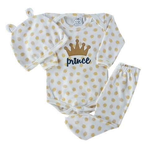 Conjunto Bebê De Inverno Body Manga Longa Com Calça de Pezinho e Touca de Gatinho Estampada