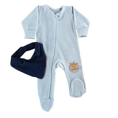 Macacão Bebê De Inverno Azul Bebê Plush Manga Longa Com Pezinho e Zipper Com Babador Bandana Azul Marinho