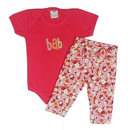 Conjunto Bebê Body Manga Curta e Calça Leggyn Estampada