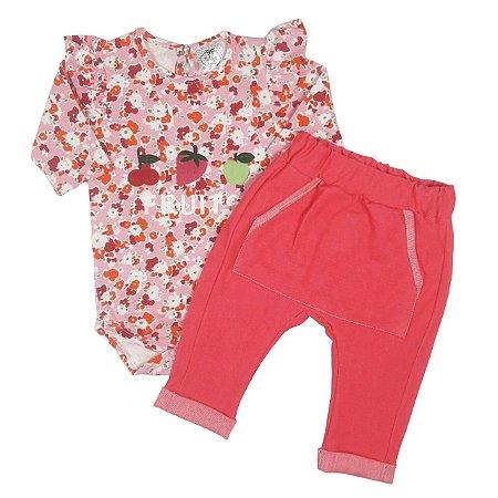Conjunto Bebê Body Estampado Floral Com Calça Saruel Rosa