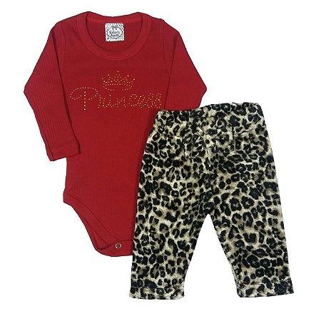 Conjunto Bebê Body Princess e Calça de Oncinha